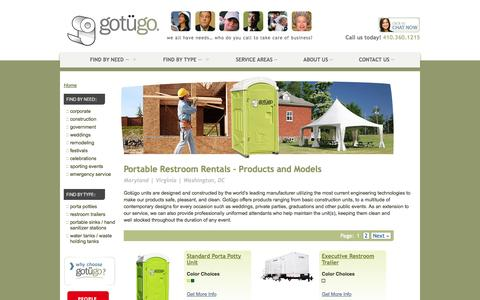 Screenshot of Products Page gotugo.com - Portable Restroom Products & Models | Rent in DC, VA, & MD | gotügo - captured Sept. 30, 2014