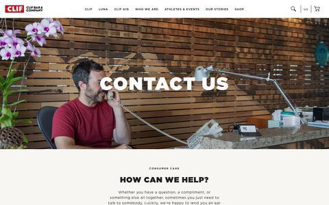 Screenshot of Contact Page clifbar.com - CLIF: Contact Us - captured July 12, 2018