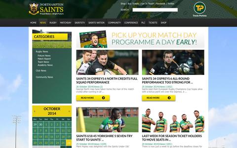 Screenshot of Press Page northamptonsaints.co.uk - News | Northampton Saints | Rugby | Official Site : Latest Headlines | News | Match Reports | Previews | Features | Interviews - captured Oct. 26, 2014