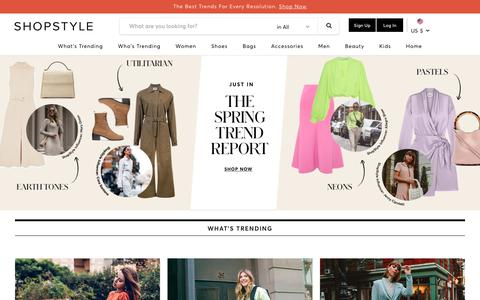 Screenshot of Home Page shopstyle.com - ShopStyle: Search and find the latest in fashion - captured Jan. 21, 2019
