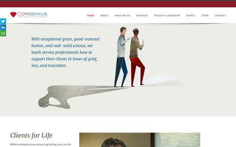 Screenshot of Home Page corgenius.com - Home - captured July 22, 2018