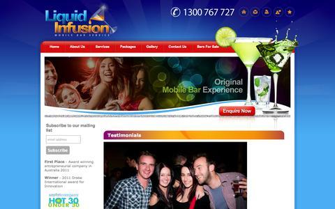 Screenshot of Testimonials Page liquidinfusion.com.au - Liquid Infusion : Testimonials - captured Oct. 2, 2014