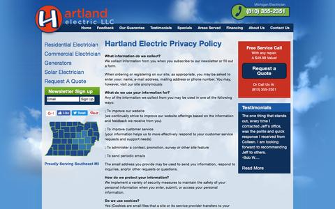 Screenshot of Privacy Page hartlandelectric.com - Hartland Electric Privacy Policy | Hartland Electric, a Michigan Electrician - captured Oct. 28, 2016