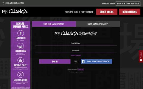 Screenshot of Login Page pfchangs.com - Sign In - captured June 2, 2019