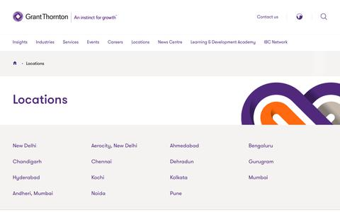 Screenshot of Locations Page grantthornton.in - Locations | Grant Thornton India - captured July 18, 2019