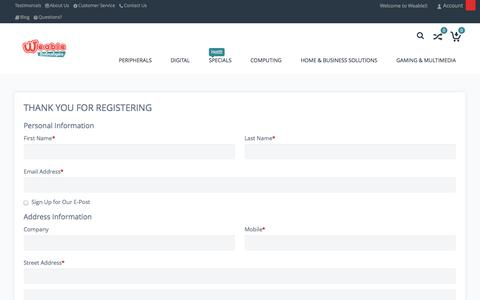 Screenshot of Signup Page weable.co.za - Create New Customer Account | Weable Technologies | Online Shop - captured Oct. 27, 2014