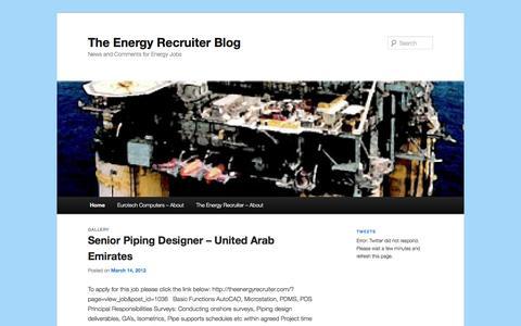 Screenshot of Blog theenergyrecruiter.com - The Energy Recruiter Blog | News and Comments for Energy Jobs - captured Oct. 26, 2014