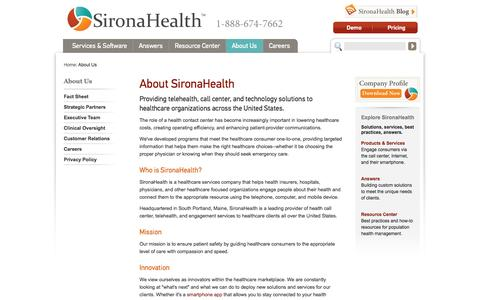 Screenshot of About Page sironahealth.com - About SironaHealth | SironaHealth - captured Sept. 19, 2014