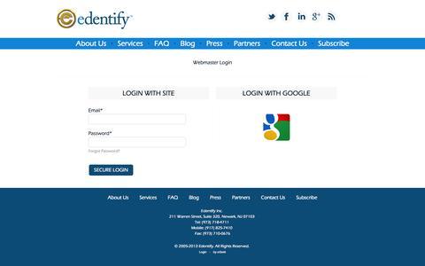 Screenshot of Login Page ogeekcom.appspot.com - Login | Edentify Inc. - captured Oct. 9, 2014