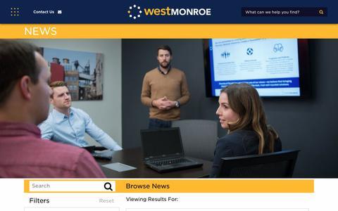 Screenshot of Press Page westmonroepartners.com - News | West Monroe Partners - captured Jan. 18, 2018