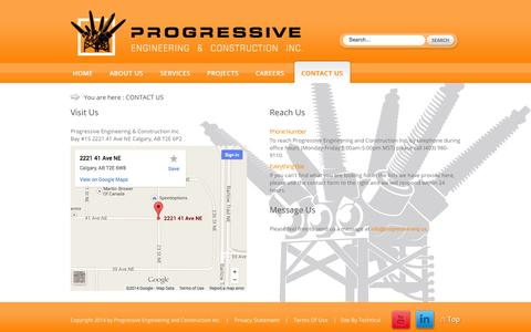 Screenshot of Contact Page progressive-eng.ca - Progressive Engineering and Construction's Contact Information - captured Oct. 3, 2014