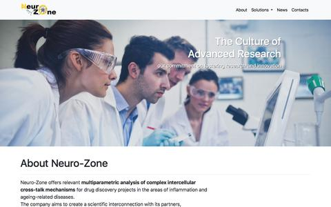 Screenshot of About Page neuro-zone.com - Neuro-Zone - functional solution for drug discovery - captured Sept. 20, 2018