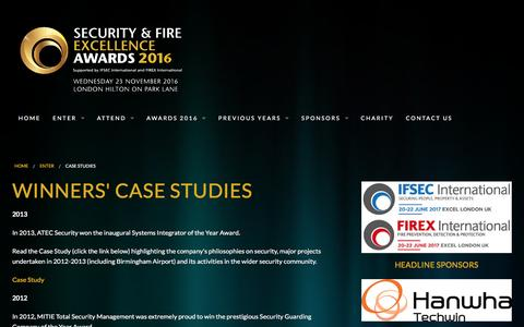 Screenshot of Case Studies Page securityandfireawards.com - Case Studies | Security and Fire Excellence Awards - captured Jan. 5, 2017