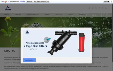 Screenshot of About Page automatworld.in - Irrigation System Manufacturer in india,  | sprinkler irrigation - captured Feb. 6, 2016
