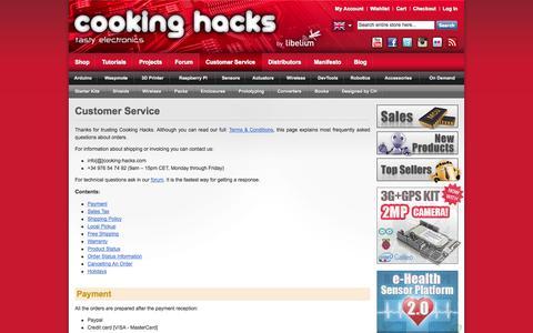 Screenshot of Support Page cooking-hacks.com - Cooking Hacks - Customer Service - captured Sept. 19, 2014