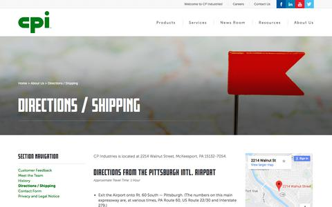 Screenshot of Maps & Directions Page cp-industries.com - CP Industries : Directions / Shipping - captured Sept. 25, 2018
