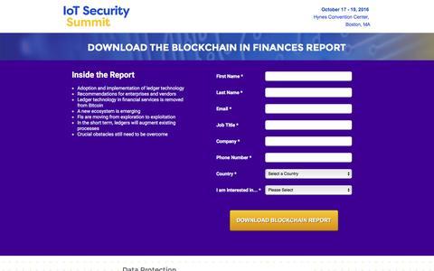 Screenshot of Landing Page knect365.com - Blockchain Report   IoT Security Summit - captured Oct. 29, 2016