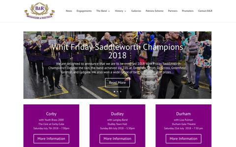 Screenshot of Home Page brighouseandrastrick.com - Brighouse and Rastrick Band | England's No. 1 Brass Band - captured July 5, 2018