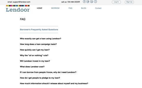 Screenshot of FAQ Page lendoor.com - Lendoor: Connecting Investors to Small Business - captured Dec. 9, 2015