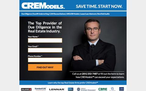 Screenshot of Landing Page cremodels.com captured Oct. 23, 2016