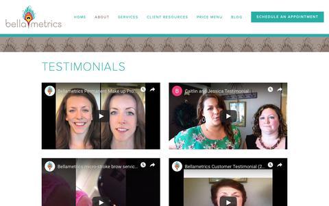Screenshot of Testimonials Page bellametrics.com - Testimonials — Bellametrics - captured Feb. 19, 2019