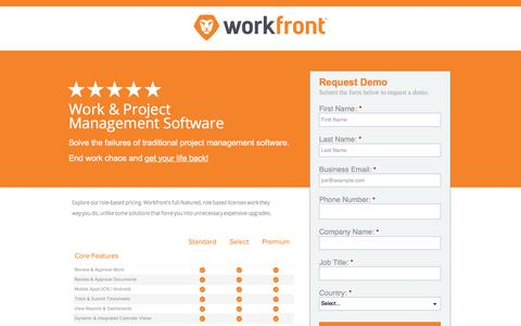 Screenshot of Landing Page workfront.com - Workfront Award Winning Project Management Software - captured May 5, 2018