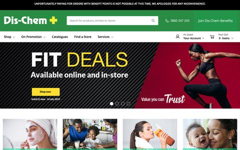 Screenshot of Home Page dischem.co.za - Contact Us / Dis-Chem - Pharmacists who care - captured June 24, 2019