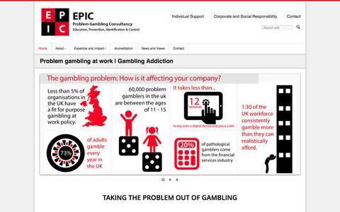 Screenshot of Home Page epicpgc.com - Problem gambling at work | Gambling Addiction - captured Jan. 23, 2015