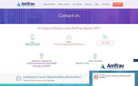 Screenshot of Contact Page amtrav.com - AmTrav | Corporate Business Travel Management - captured July 3, 2018