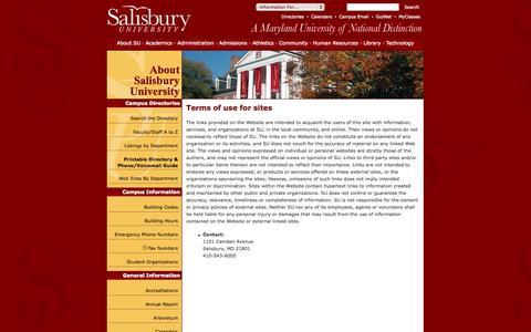 Screenshot of Terms Page salisbury.edu - About SU - captured Sept. 23, 2014
