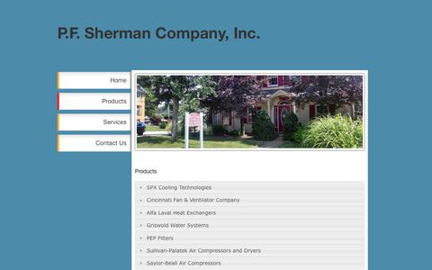Screenshot of Products Page pfsherman.com - Products - P.F. Sherman Co. - captured Oct. 2, 2016