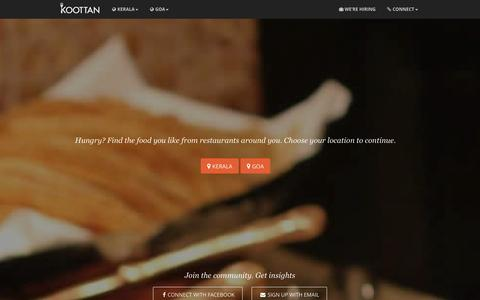 Screenshot of Home Page koottan.com - Koottan | Best Restaurants in Kerala, Offers, Menu and Reviews - captured Oct. 7, 2014