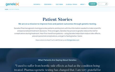 Screenshot of Testimonials Page genelex.com - Patient Stories - Genelex - captured Dec. 7, 2018