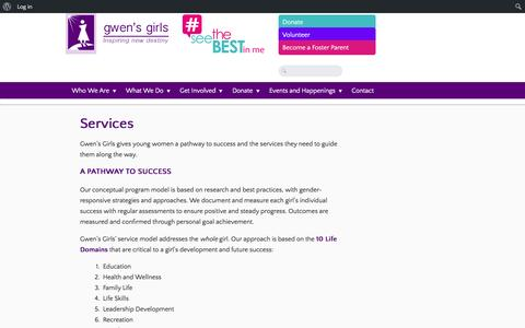 Screenshot of Services Page gwensgirls.org - Services | - captured Feb. 2, 2016