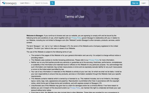Screenshot of Terms Page boxagon.com - Boxagon | Terms of Use - captured Sept. 19, 2014