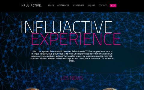 Screenshot of Home Page influactive.com - Agence Web Lyon - communication digitale, presse, mobile - Influactive - captured Sept. 30, 2014