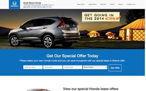 Screenshot of Home Page southhonda.com - Shop new Honda in Miami Accord, civic, Pilot ... | South Motors Honda - captured Sept. 22, 2014