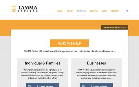 Screenshot of Services Page tammacapital.com - Asset & Wealth Management Services | Oakland County, Michigan - captured Oct. 19, 2018