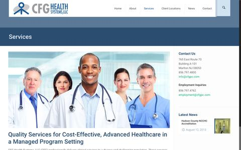 Screenshot of Services Page cfghealthsystems.com - Services | CFG Health Systems, LLC - captured July 9, 2016