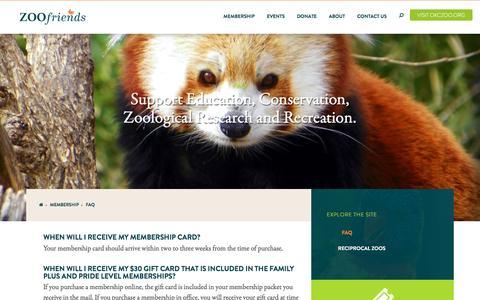 Screenshot of FAQ Page zoofriends.org - FAQ - captured Nov. 29, 2016