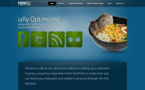 Screenshot of Home Page foodbiz.sg - Foodbiz Consulting - Food & Beverage Business Consulting, Restaurant Branding & Marketing, Japanese Ramen Franchising, Social Media for Restaurants in Singapore, Malaysia and Indonesia. - captured Oct. 1, 2014