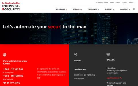 Screenshot of Contact Page enterprise-it-security.com - Contact   Enterprise IT Security - Security and Compliance Automation - captured Oct. 29, 2018