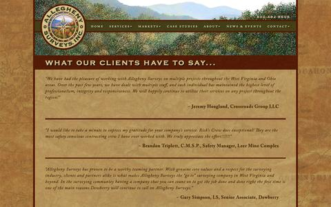 Screenshot of Testimonials Page alleghenysurveys.com - Allegheny Surveys Client Testimonials - captured Oct. 3, 2018