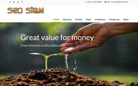 Screenshot of Home Page seo-siam.com - SEO Siam Affordable Global Web Design | SEO Siam - captured March 5, 2016