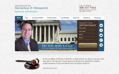 Screenshot of Home Page Privacy Page nickheimlichlaw.com - Experienced Business Litigation Lawyer | Nick Heimlich Law - captured Oct. 7, 2014