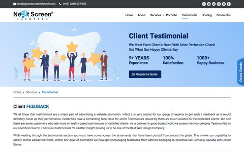 Screenshot of Testimonials Page nextscreen.in - Our Client Testimonial | Next Screen - captured July 17, 2019