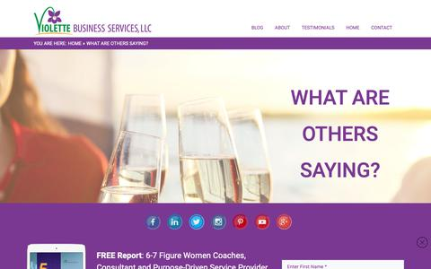 Screenshot of Testimonials Page violettebusinessservices.com - What Are Others Saying? » Virtual COO | Certified Online Business Manager | Brenda Violette - captured Oct. 19, 2018