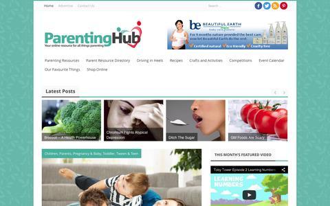 Screenshot of Home Page parentinghub.co.za - Parenting Hub - captured Oct. 1, 2014