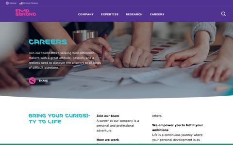 Screenshot of Jobs Page emdserono.com - Careers | EMD Serono - captured Sept. 25, 2018