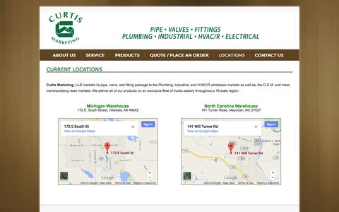 Screenshot of Locations Page curtismkting.com - Curtis Marketing - Pipe, Valves and Fittings - captured Oct. 3, 2014